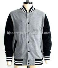 OEM hot sale men plain fleece knitted baseball jackets,varsity base ball jacket