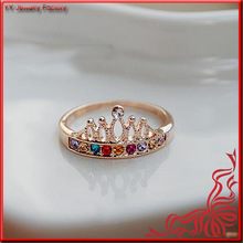 Femal Colorful Crystal Bijou Gold Crown Ring