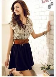 New Fashion Women Lady Summer Short Sleeve Girls Polka Dots Chiffon Dress G0139