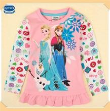 ( f5098y) rosa 18m-6y congelati ragazze camicia a maniche lunghe t autunno/primavera ingrosso vestiti bambina
