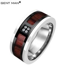 ebay china men's black stainless steel ring wood inlay/samoan design wedding rings/2014 fall and winter new design alipress