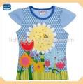 2014 azul 18m-6y crianças novo design de vestuário com apliques de flores de verão de moda da menina camiseta( k3970)
