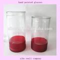 自宅の庭の装飾安い透明な赤の底背の高いシリンダーの花瓶の絵のデザイン
