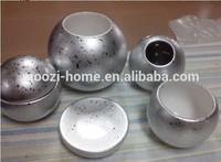 Round silver color ceramic bath set