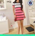 mode estivale lumière strippped robe pull à manches courtes pour les femmes