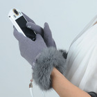 rabbit fur cuff touch screen gloves for smartphone and tablet
