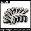Custom Made 12pcs/set 2014 New Glossy PU Leather Golf Club Iron Head Covers Case Set Black&Gold Golf Iron Headcovers