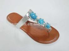 LA-2383 silver PU ladies slippers with blue jewel