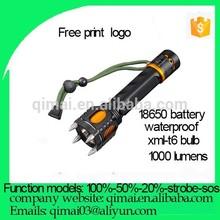 2014 Hot Sale best 1000 Lumen attack head 18650 battery xml t6 Led tactical flashlight
