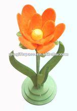 2015 new hot sale China handmade fabric home wholesale stand pot designs orange decoration felt artificial flower display racks