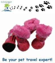 Lovoyager pet products pink dog shoes super warm suede dog boots