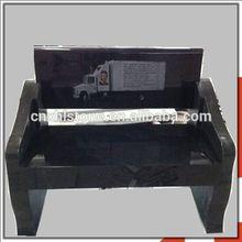 Hot Sales American Style Black Granite Bench Tombstone