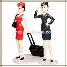 2014 Hot sale top quality modern beautiful plastic vivid airline stewardess toy, sex girl cartoon figurine