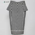2014 verão moda novo estilo preto e branco listrado mulheres saia mais recente projeto de uma linha de cintura alta bodycon formal saias longas