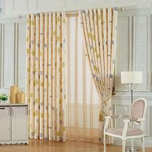 Brief polyester flower printed grommet curtain