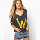 W letter print navy green long sleeve v-neck pullover sweater women hoodies haoduoyi