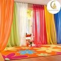 Couleur rainbow 100% polyester teinture pure/voile/organza rideau en tissu textile