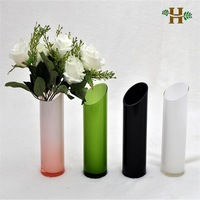 Oblique Opening Cylinder Glass Vase, handmade simple table use glassware
