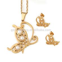 Supply Plated Stainless steel pendant, women jewelry set, fashion butterfly earring GJS0036