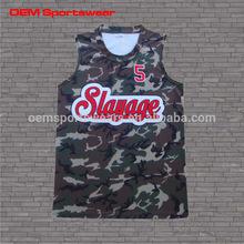 OEM fashionable polyester short sleeve men camo basketball jerseys