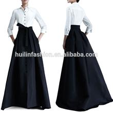 2014 elegant sexy whith black maxi dress long taffeta bridesmaid evening dress