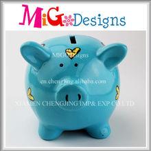 Latest Blue Pig Novelty Decal Ceramic Pretty Piggy Bank