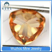 Wuzhou fat triangle champagne CZ jewelry gemstones trillion shape CZ