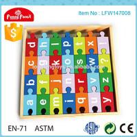 2014 Wholesale Educational Toys Wooden Alphabet puzzle for kids
