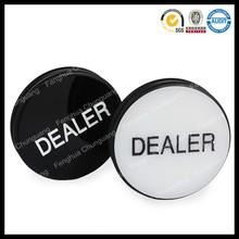 Fashion high quality custom game professional acrylic metal bulk texas poker dealer button in printed logo paper card box