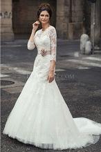 lelgant lace long sleeve ball gown high neck wedding dress pattern 2012
