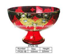 Decorative Pedestal Handmade Gold Painted Colored Glassware Fruit Bowl /antique glass fruit bowls