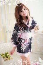 2014 Ladies Wholesale Hot Sexy Satin Japanese Kimono Lingerie Black Foral Printed Kimono Lingerie
