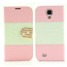 double colors crocodile grain leather case for samsung galaxy s4 i9500