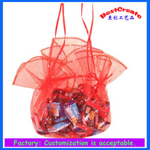 Wholesale popular 35cm red round organza Gift bags for weddings
