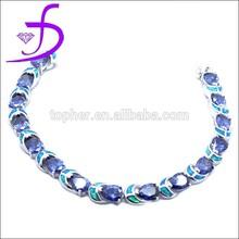 925 Sterling Silver Diamond mystic Amethyst antique bracelet silver opal