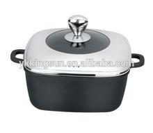 28cm cast aluminum Square soup pot with heart knob