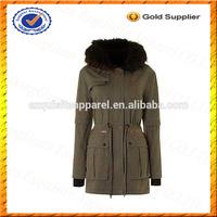 Custom Faux Fur Lined Hooded Jacket Parka/100% Cotton Ladies Parka Wholesale