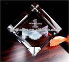 3d laser engraved blank crystal block crystal trophy crystal clock (professional manufacturer)
