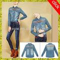 Venta al por mayor de china caliente de la venta de manga larga de la solapa de mezclilla tela casual camisa/jeans camisa