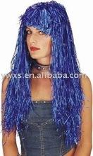 Long Cyber Tinsel Wig Metallic blue