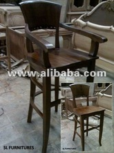 Bar Chair with Armrest Full Back-Seat - Wooden Bar Chair