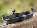 Baño del pájaro con lovely birds, Hierro fundido Birdfeeder