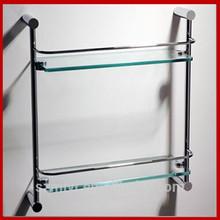 double tier wall mounted glass bathroom corner shelf
