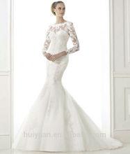 high neck long sleeve mermaid cheap lace wedding dresses