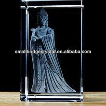 Fashion crystal crafts with 3d laser engraved Mazu Bodhisattva