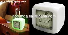 cube desktop glowing led digital alarm clock talking current time and tempreture