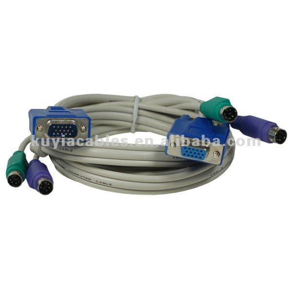 VGA monitor LCD PS2 KVM Cable for keyboard mouse 5 ft Male to Female