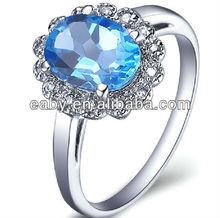 2014 wholesale fashion jewellery sterling silver rings yellow topaz big rings SR0210B