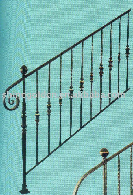 De hierro forjado pasamanos de escaleras al aire libre - Pasamanos de hierro forjado para escaleras ...