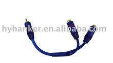 transparent blue pvc 5.0mm Y type car rca cable audio
